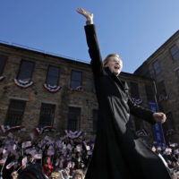 Sen. Elizabeth Warren, D-Mass., waves to supporters as she takes the stage during an event to formally launch her presidential campaign, Saturday, Feb. 9, 2019, in Lawrence, Mass. (Elise Amendola/AP)