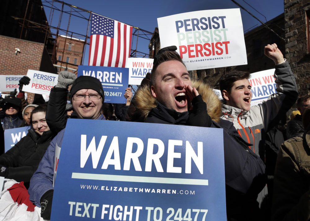 Supporters cheer for Sen. Elizabeth Warren, D-Mass., as she speaks during an event to formally launch her presidential campaign, Saturday, Feb. 9, 2019, in Lawrence, Mass. (Elise Amendola/AP)