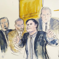 "In this courtroom drawing, Joaquín ""El Chapo"" Guzmán, second from right, accompanied by U.S. Marshals, gestures a ""thumbs up"" to his wife, Emma Coronel Aispuro, as he leaves the courtroom on Feb. 12 in New York. (Elizabeth Williams via AP)"