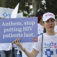 Over 125 community advocates join AIDS Healthcare to protest against Anthem Insurance Company given their denying close to 2,000 HIV+ patients in South Florida access to choose the life-saving healthcare on Tuesday, Feb. 12, 2019 in Miami. (James McEntee/AP Images for AIDS Healthcare Foundation)