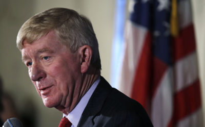 Former Massachusetts Gov. William Weld addresses a gathering during a New England Council 'Politics & Eggs' breakfast in Bedford, N.H., Friday. Weld announced he's creating a presidential exploratory committee for a run in the 2020 election. (Charles Krupa/AP)