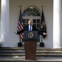 President Donald Trump speaks during an event in the Rose Garden at the White House to declare a national emergency in order to build a wall along the southern border, Friday, Feb. 15, 2019, in Washington. (Evan Vucci/AP)