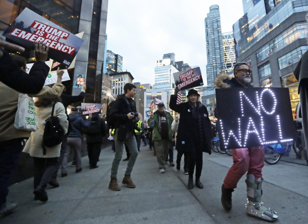 Protesters of President Trump's national emergency declaration gather on Friday, Feb. 15, 2019, in New York. (Frank Franklin II/AP)