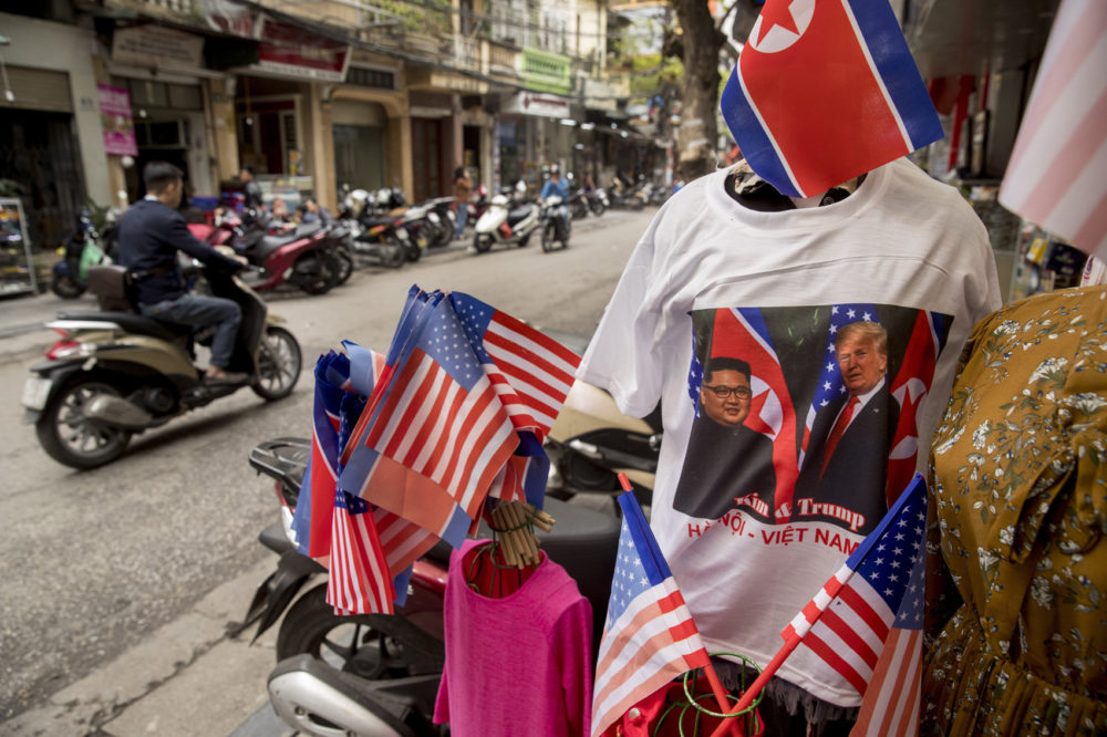 T-shirts with U.S. President Donald Trump and North Korean leader Kim Jong Un are displayed for sale in Hanoi, Vietnam, Tuesday, Feb. 26, 2019. (Andrew Harnik/AP)