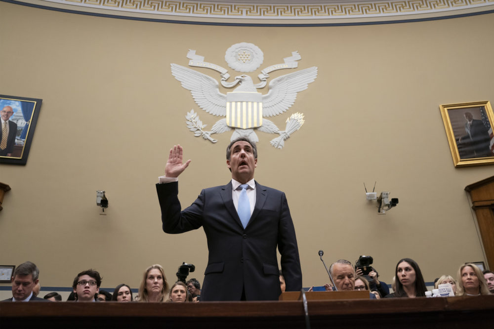 Michael Cohen, President Donald Trump's former personal lawyer, is sworn in to testify before the House Oversight and Reform Committee on Capitol Hill, Wednesday, Feb. 27, 2019. (J. Scott Applewhite/AP)