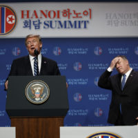 President Donald Trump speaks as Secretary of State Mike Pompeo looks on during a news conference after a summit with North Korean leader Kim Jong Un. (Evan Vucci/AP)