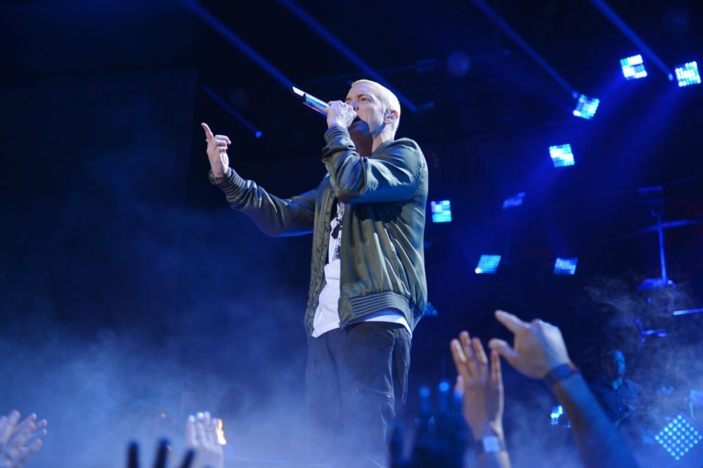 Eminem performs on stage at the MTV Movie Awards, on Sunday, April 13, 2014, in Los Angeles. (John Shearer/Invision for MTV/AP Images)