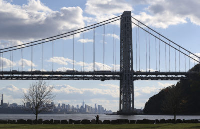 The George Washington Bridge and the Manhattan skyline are seen from Fort Lee, N.J., on Oct. 24, 2016. (Seth Wenig/AP)