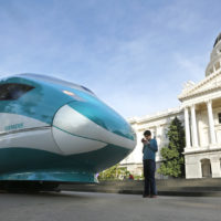 A full-scale mock-up of a high-speed train is displayed at the Capitol in Sacramento, Calif. (Rich Pedroncelli/AP)
