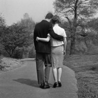 A young couple taking a stroll, May 9, 1961. (Dan Grossi/AP)