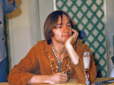Peter Tork of the Monkees at a press conference at the Warwick Hotel in New York, July 6, 1967. (Ray Howard/AP)