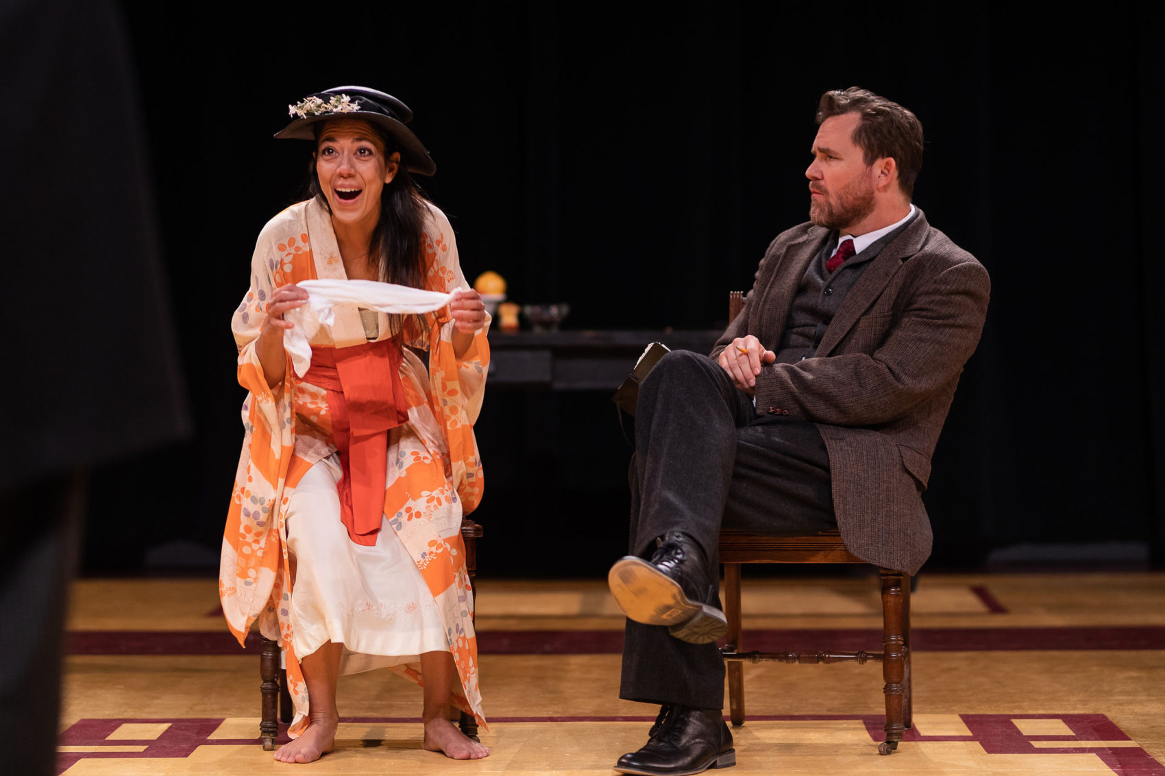 "Vaishnavi Sharma as  Eliza Doolittle and Eric Tucker as Henry Higgins in ""Bedlam's Pygmalion"" at Central Square Theater. (Courtesy Nile Scott Studios)"
