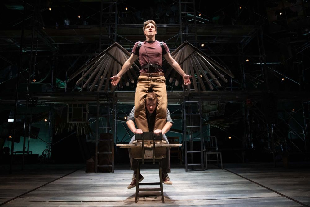 "Spencer Hamp (top) as Birdy and Maxim Chumov as Al in ""Birdy"" at Babson College. (Courtesy Evgenia Eliseeva)"