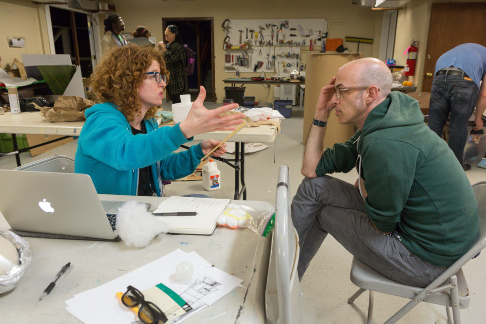 "Bonnie Duncan and Dan Milstein work on ""Go Home Tiny Monster."" (Courtesy Richard Termine/The Gottabees)"