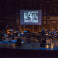 "New England Conservatory's Contemporary Improvisation Department performs at last year's Film Noir concert, ""Brando Noir."" (Courtesy New England Conservatory)"