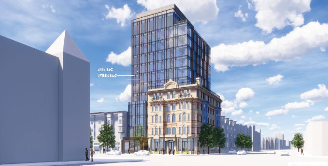 A rendering of developers' proposal for a multi-story hotel preserving the Hotel Alexandra facade, as seen from Massachusetts Avenue (Courtesy)