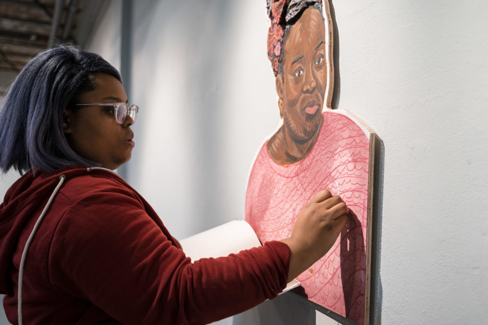 """I'm not interested in creating another easily identifiable version of black pain,"" artist Chanel Thervil says about her exhibition ""Enigma: Reactions to Racism."" (Courtesy Faizal Westcott/Urbano Project)"