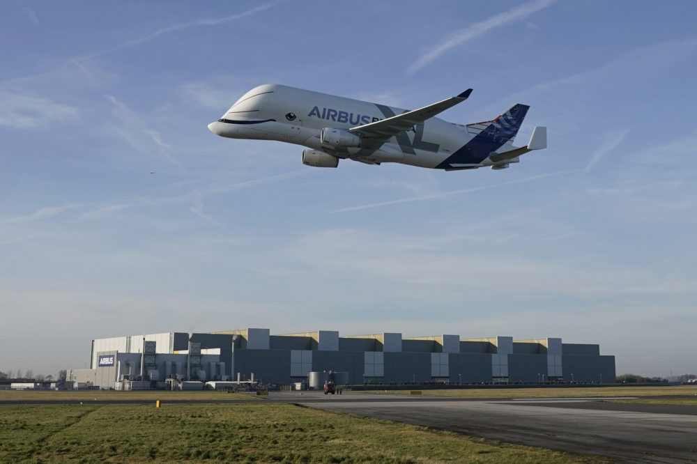 A new Airbus Beluga XL comes in to land at the Airbus Broughton wing assembly plant on February 14, 2019. Airbus has announced that it will cease to manufacture it's A380 passenger jet. (Chris Furlong/Getty Images)