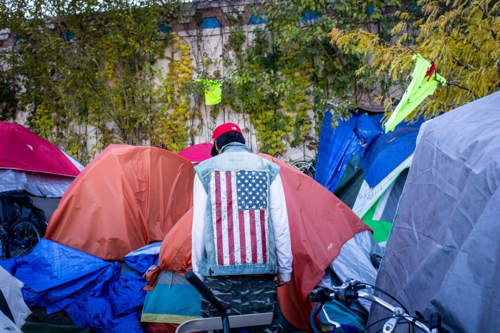More than 200 people lived at a large encampment along Hiawatha and Cedar Avenues in Minneapolis, Minnesota on October 22, 2018. (Kerem Yucel/AFP/Getty Images)