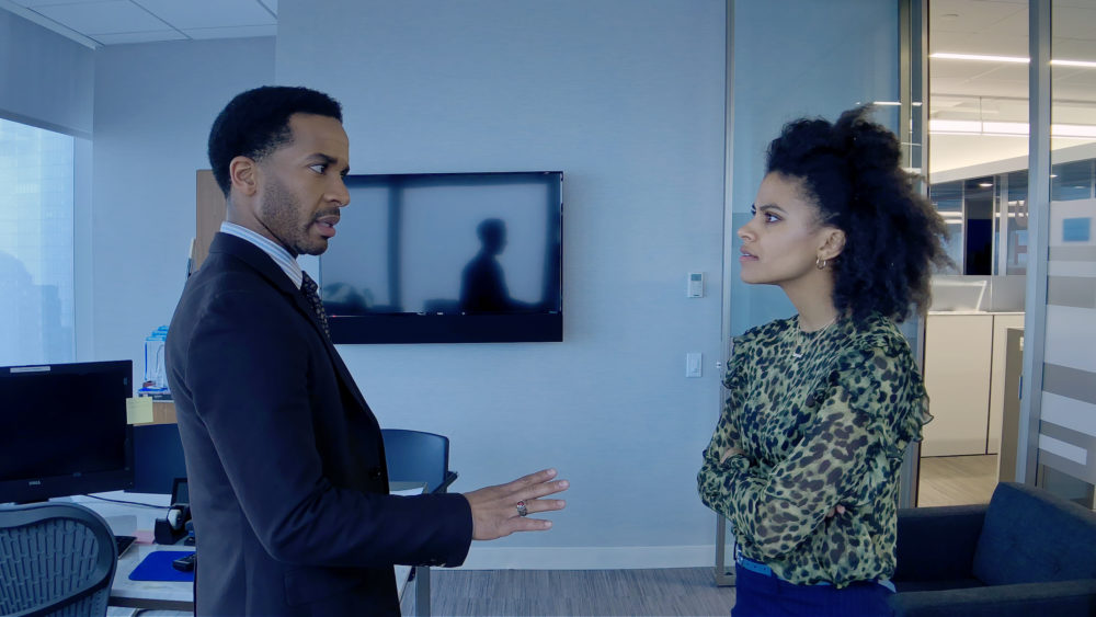"André Holland as Ray Burke and Zazie Beetz as Sam in ""High Flying Bird,"" directed by Steven Soderbergh. (Courtesy Peter Andrews/Netflix)"