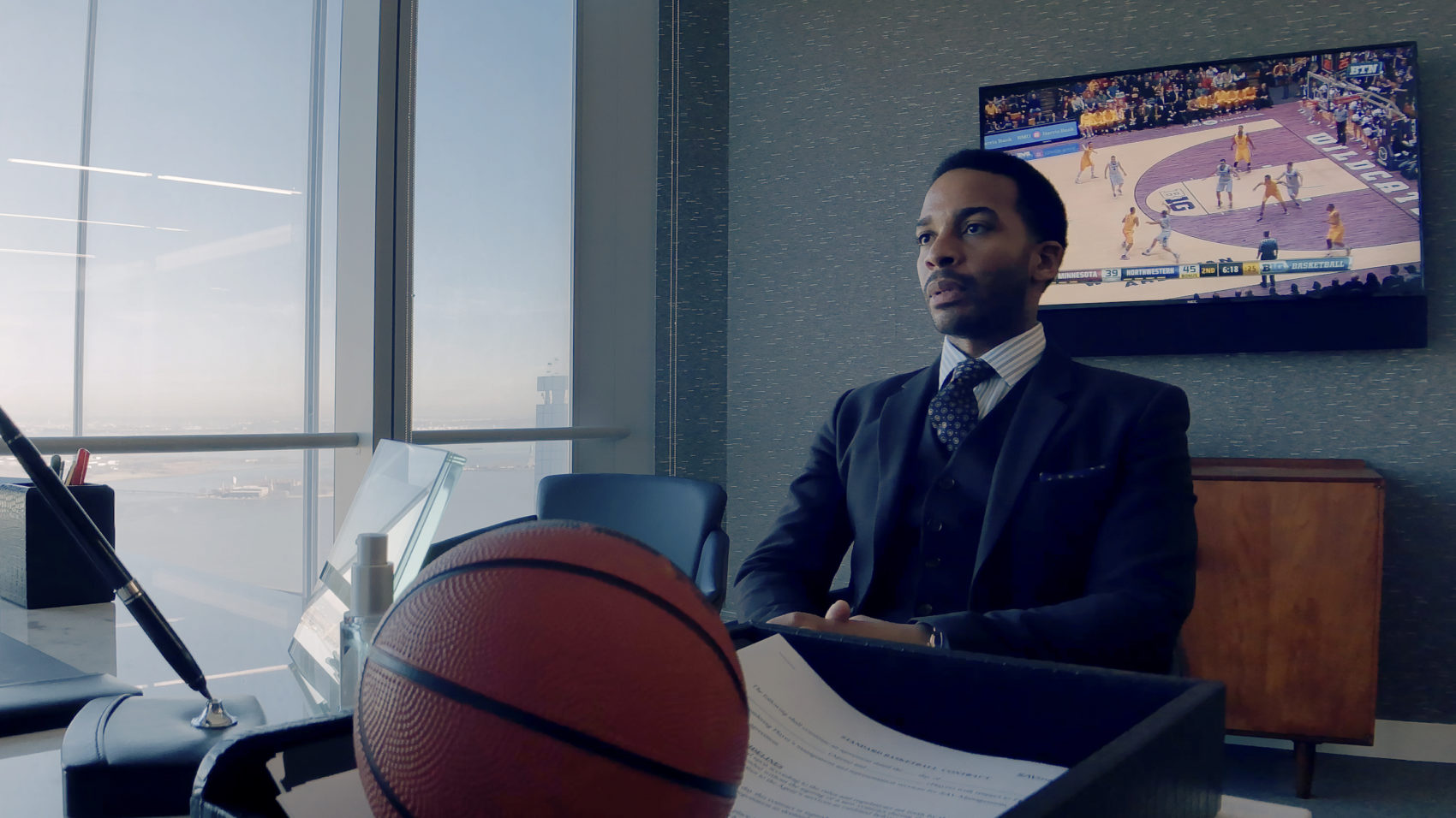 "André Holland as Ray Burke in ""High Flying Bird,"" directed by Steven Soderbergh. (Courtesy Peter Andrews/Netflix)"