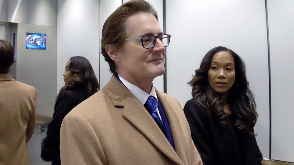 "Kyle MacLachlan as David Seton and Sonja Sohn as Myra in ""High Flying Bird,"" directed by Steven Soderbergh. (Courtesy Peter Andrews/Netflix)"