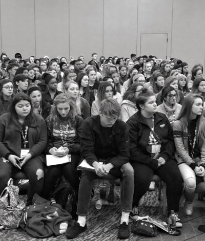 Student journalists listen to Sarah Lerner, the yearbook advisor at Marjory Stoneman Douglas High School in Parkland, Florida. Students were in Chicago attending the National Scholastic Press Association's fall conference, Nov. 2018. (Courtesy of the author)