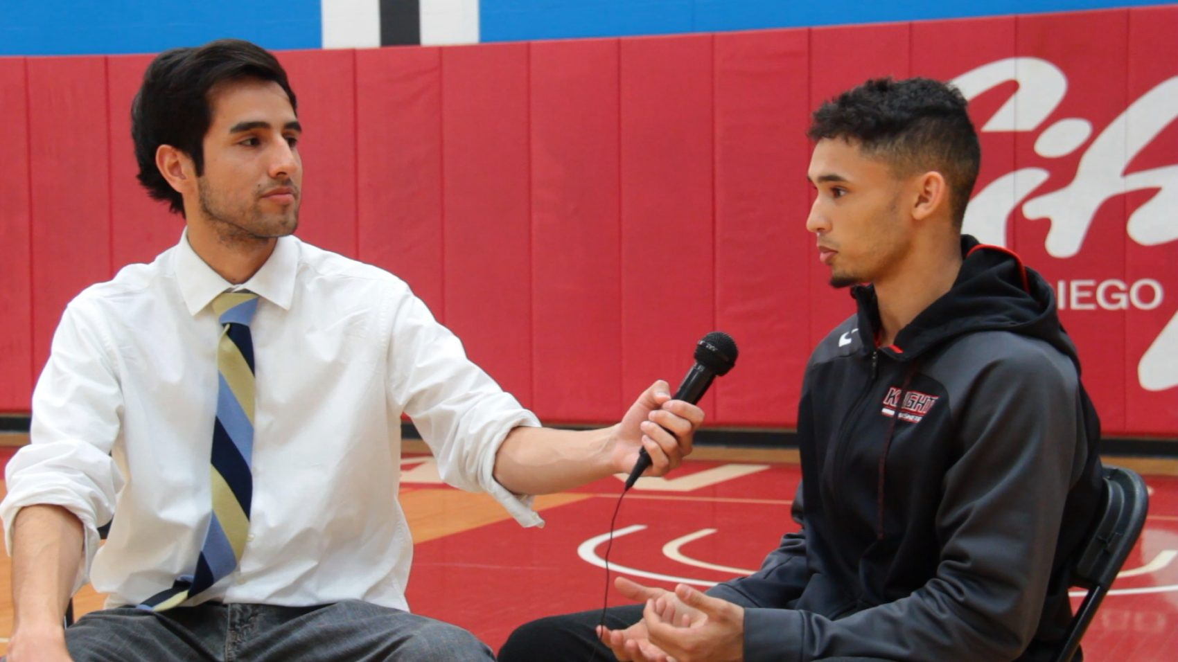 David Pradel interviewing one of the members of the City College basketball team. (Courtesy David Pradel)