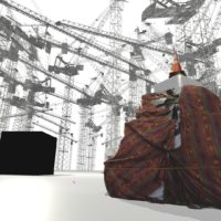 """Asma Kasmi's virtual reality exhibition """"Cranes and Cube,"""" created in 2017. (Courtesy of the artist)"""