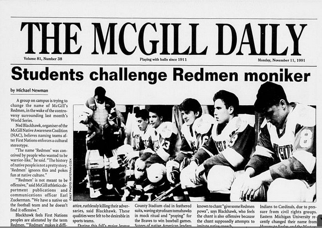 The front page of The McGill Daily on Nov. 11, 1991. (Courtesy Suzanne Morton)
