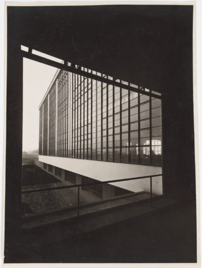 "Lucia Moholy's photograph of Walter Gropius' ""Bauhaus Building, Dessau,"" created in 1926. (Courtesy Harvard Art Museums)"