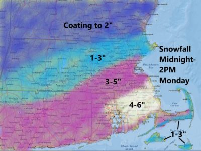 Snow will be heaviest south of Boston today. (Dave Epstein/WBUR)