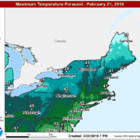 Afternoon highs will reach the 40s today. (Courtesy NOAA)
