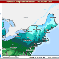 Temperatures remain above freezing on Thursday. (Courtesy NOAA)