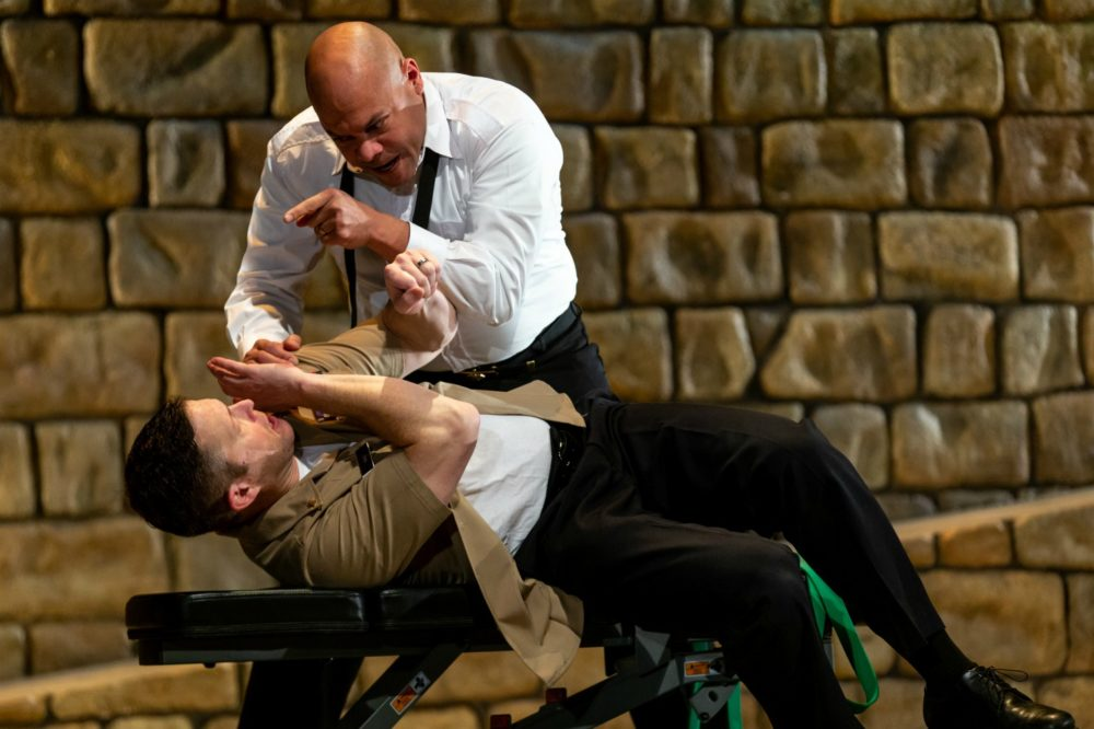 "Chris Butler as Othello and Danforth Comins as Iago in ""Othello"" at the American Repertory Theater in Cambridge, Mass. (Courtesy Natasha Moustache)"
