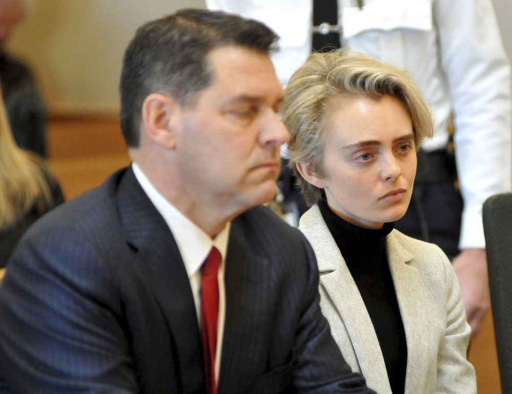 Michelle Carter, 22, appears in court Monday for a hearing on her prison sentence. She was taken to jail after the state's highest court upheld her involuntary manslaughter conviction. (Mark Stockwell/The Sun Chronicle via AP, Pool)