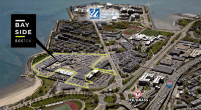 A slide from Thursday's UMass Board of Trustees presentation shows the Bayside site in the context of UMass Boston campus and the surrounding neighborhood. (Courtesy)