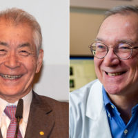 Tasuku Honjo, left, and Gordon Freeman (courtesy Bengt Nyman/Flickr and Dana-Farber Cancer Institute)