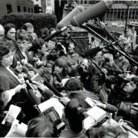 A jury forewoman speaks to reporters in Seattle in 1985 after the verdicts in a racketeering trial of Neo-Nazis. (Courtesy of David Boeri)