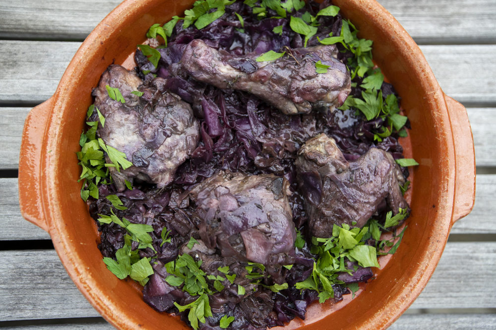Braised red cabbage and chicken, from chef Kathy Gunst. (Jesse Costa/WBUR)