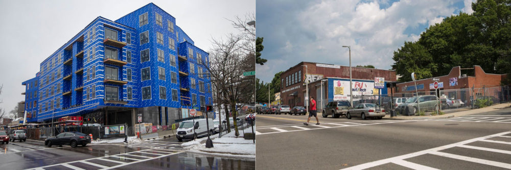 3200 Washington St., today, left, and back in 2015 (Jesse Costa/WBUR)