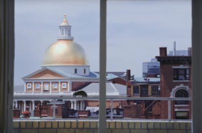 "The rat scampering across the ledge in front of the State House in the final scene of ""The Departed."" (YouTube)"