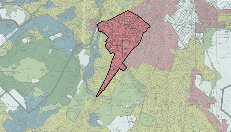 "This ""redlined"" section of Boston includes Egleston Square in Jamaica Plain. The red areas were marked as ""hazardous."" (Courtesy of the ""Mapping Inequality"" project at the University of Richmond)"