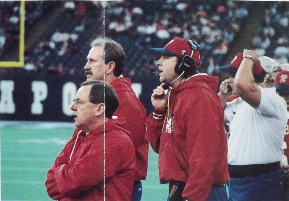 Bob Tully (front, left) and Bruce Scifres (back, left) coached Roncalli  High School football to its fourth state title in 1994. (Courtesy Roncalli High School)