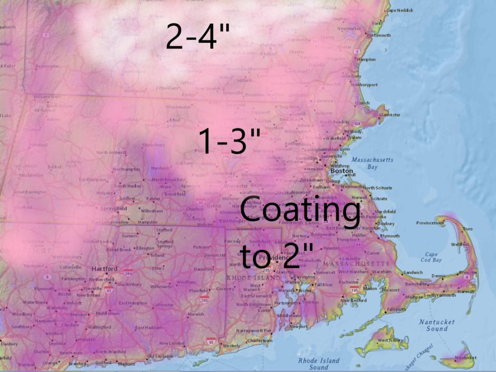 Snow arrives tonight after the evening commute with a light accumulation before the change to sleet and eventually rain. (Dave Epstein/WBUR)