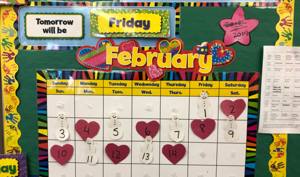 A calendar in Jodi Piazza's classroom at the Edison K-8 School. (Max Larkin/WBUR)