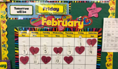 A calendar in Jodi Piazza's classroom at the Edison K-8 School. (Max Larkin/WBUR)
