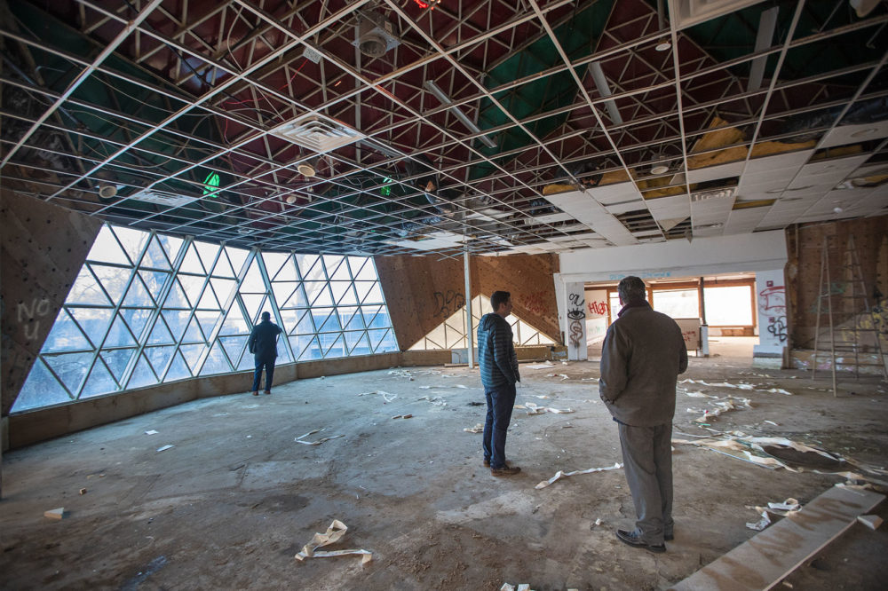 The interior of Buckminster Fuller's geodesic dome in Woods Hole (Jesse Costa/WBUR)