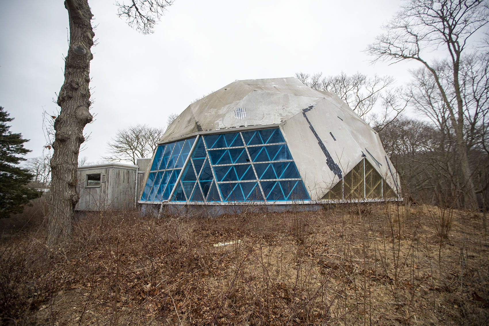 The Dome in Woods Hole, the oldest surviving geodesic dome in the world built by Buckminster Fuller, is in a state of total disrepair. (Jesse Costa/WBUR)