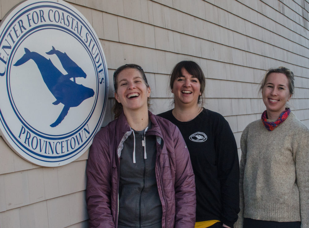 Christy Hudak, Amy James and Brigid McKenna stand outside the Center for Coastal Studies office in Provincetown. (Sharon Brody/WBUR)